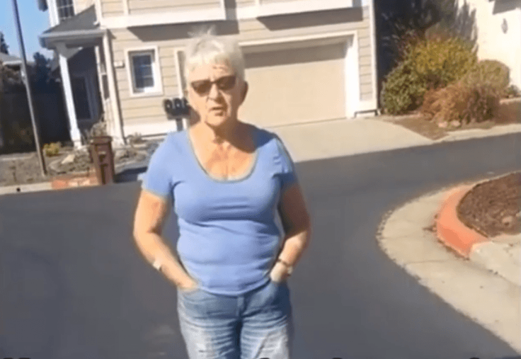 woman harasses dog owner