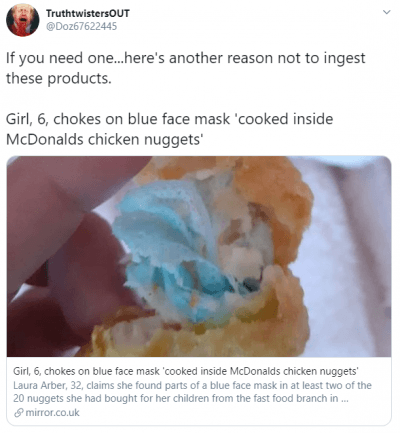 Surgical mask found in McDonalds chicken nuggets