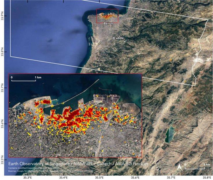 NASA mapped beirut