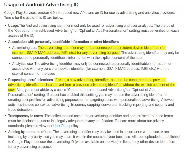 Google's policy for developers