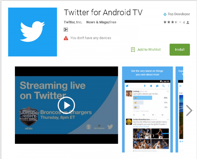Twitter for Android TV
