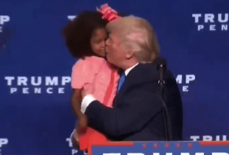 Donald Trump kissing girl