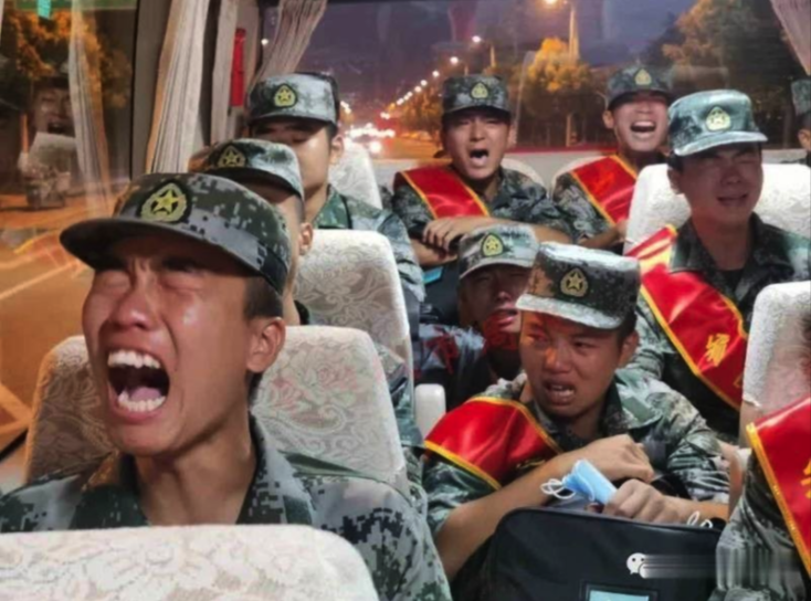 PLA soldiers crying
