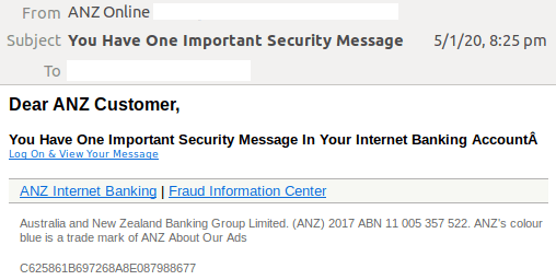 ANZ spoof email
