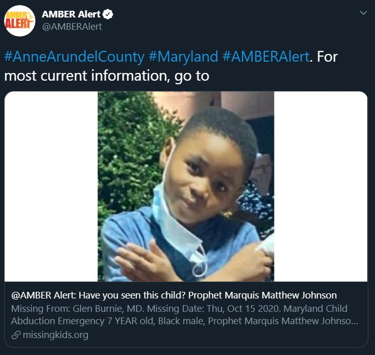 Maryland Amber Alert for Prophet Marquis Matthew Johnson