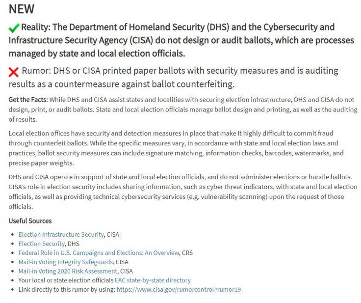 Watermarked ballot DHS sting rumor addressed by CISA