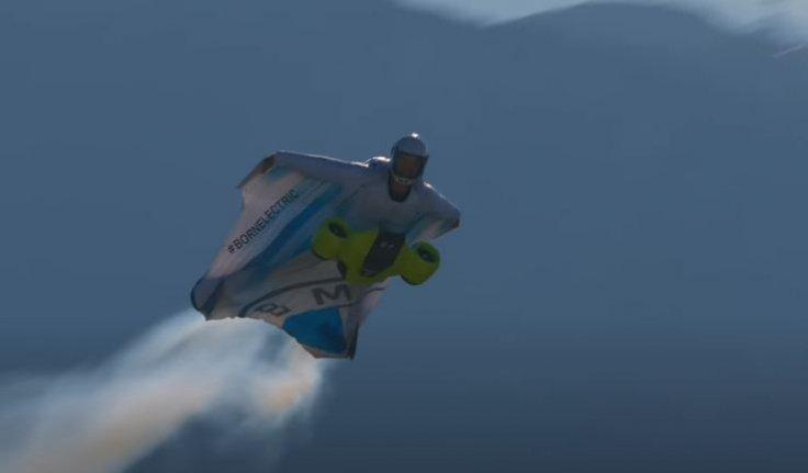 Salzmann with the electric-powered wingsuit