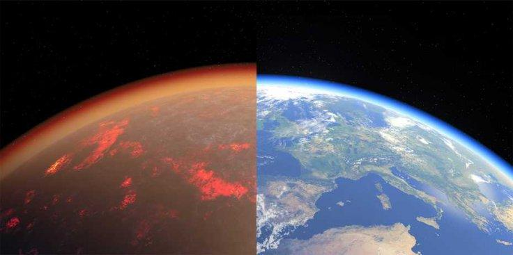 Earth today and 4.5 billion years ago