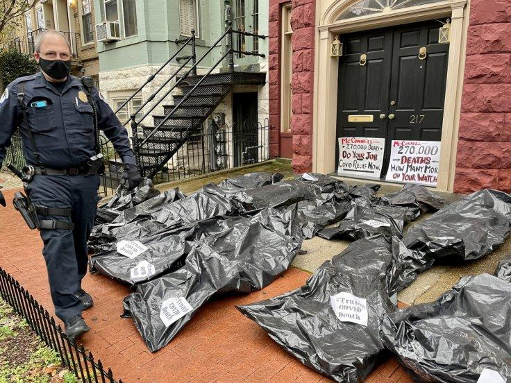 Body bags outside Mitch McConnell's house