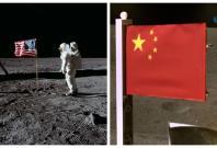 US and China flag on moon