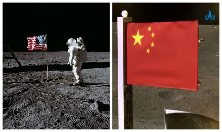 US and China flag on moon