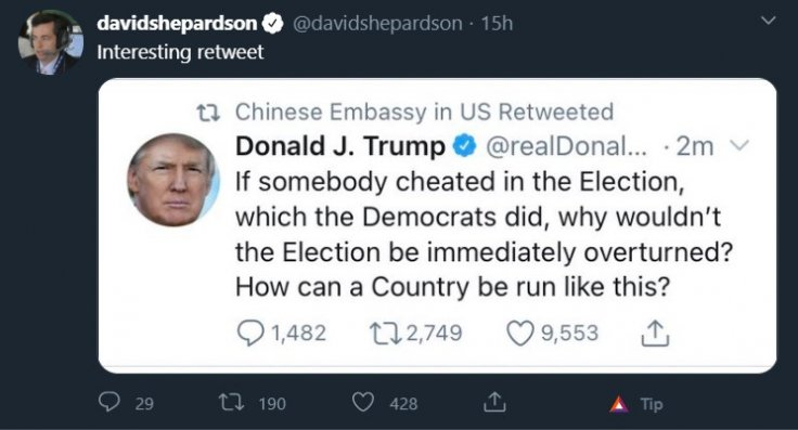 Chinese Embassy in US Twitter