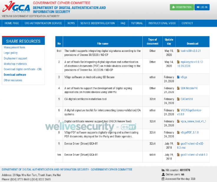 VGCA website
