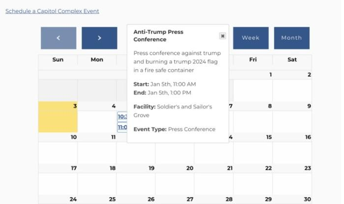 Capitol Complex Event Schedule