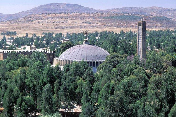 The dome and bell tower of the new Church of Our Lady Mary of Zion, built by Emperor Haile Selessie in the 1950s at Axum, Ethiopia