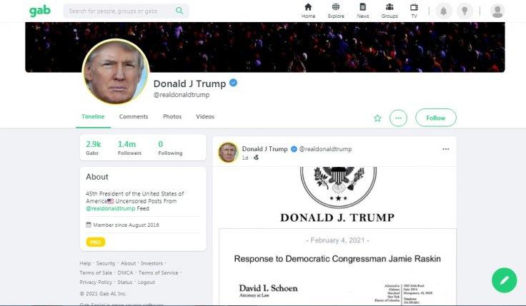 Donald Trump Gab page