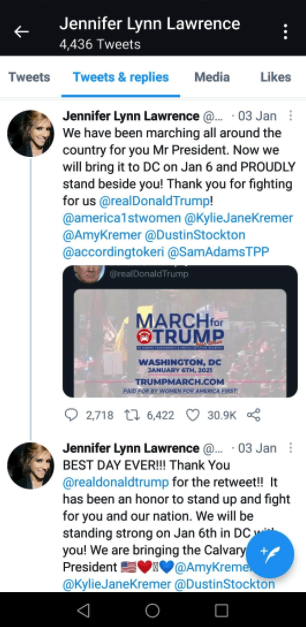 Screenshot of Jennifer Lawrence's tweet
