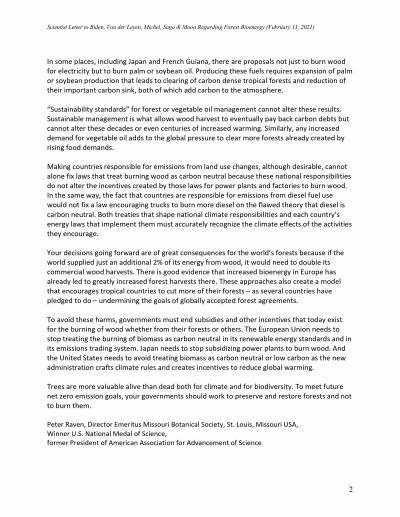 Letter R egarding Use of Forests for Bioenergy