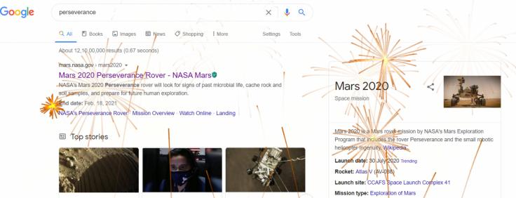 Google Perseverance Fireworks