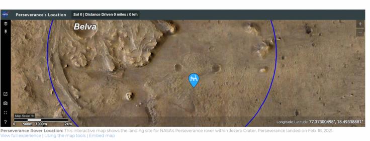 Perseverance interactive map