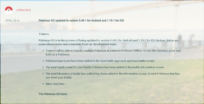 Pokemon GO update for iOS and Android