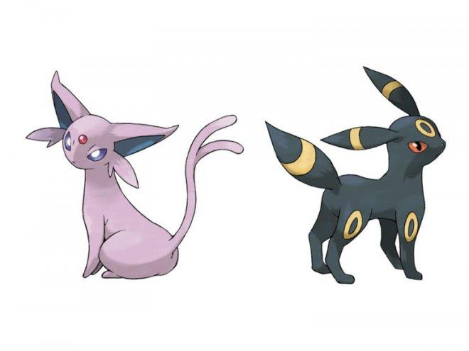 Eevee evolves into Umbreaon and Espeon