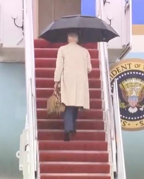 Biden almost trips again