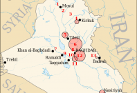Map of US airbases in Iraq