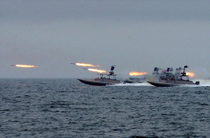 Ships taking part in  IRGC naval exercise