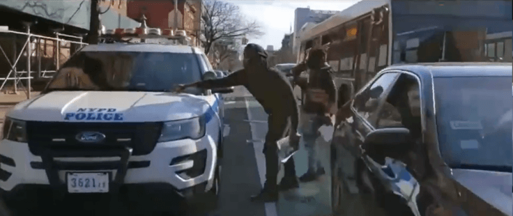 Black men Harass NYPD Police Officers Car