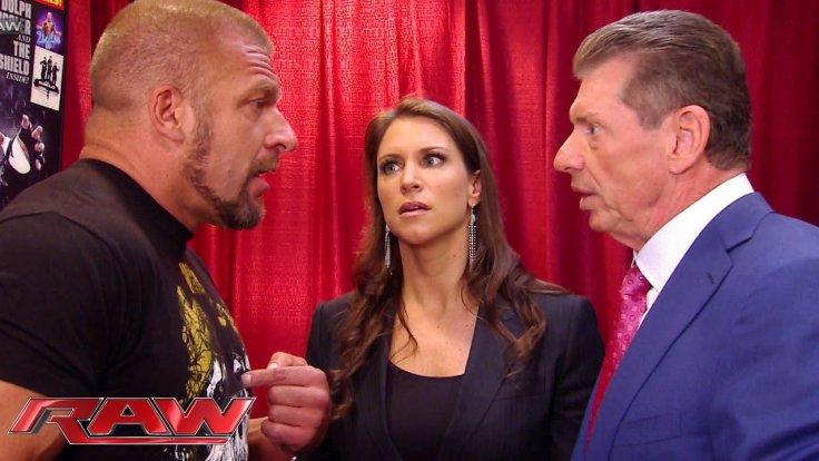 Triple H, Stephanie and Vince McMahon