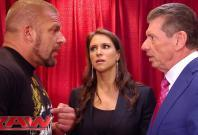 Triple H, Stephanie and Vince McMahon
