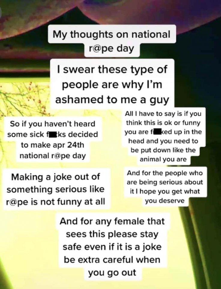National Rape Day Trend on TikTok