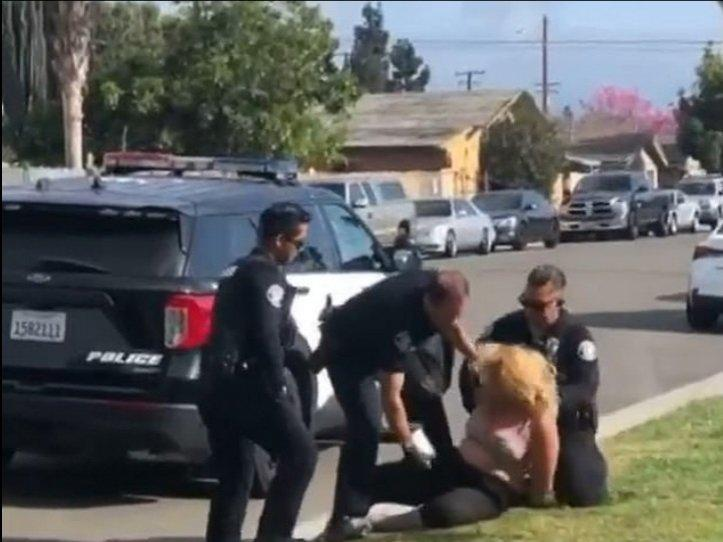 Cop punching woman
