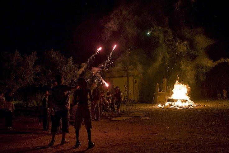 Lag B'Omer bonfire at Israel's Mount Meron