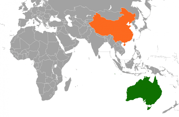 The location of People's Republic of China and Australia.
