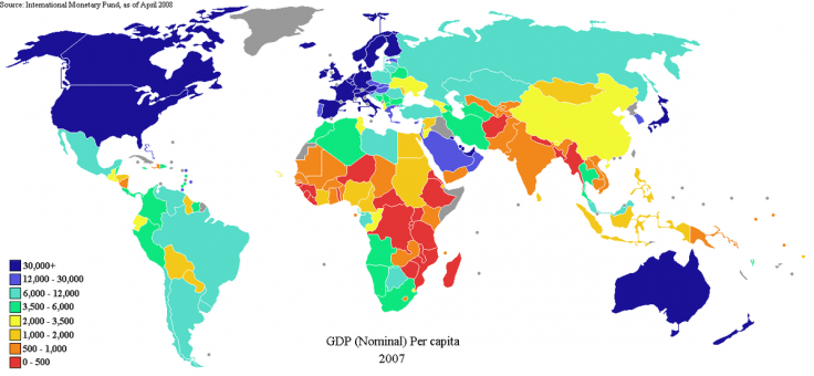 World map showing countries by nominal GDP per capita in 2007
