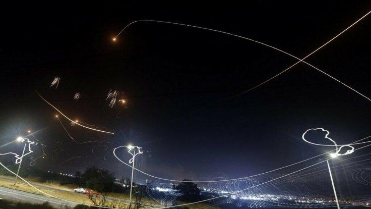 Iron Dome intercepting Hamas rockets