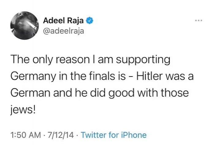 Adeel Raja tweet