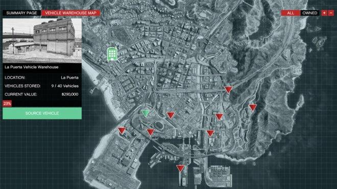 GTA Online: Vehicle Warehouse map