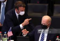 Emmanuel Macron and Joe Biden