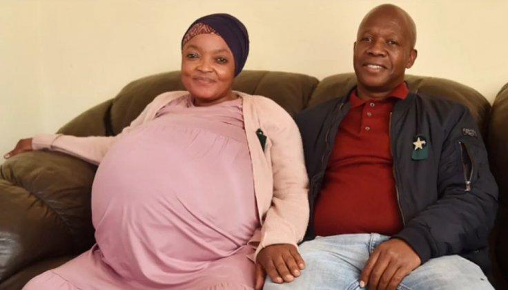 Gosiame Thamara Sithole with her partner Tebogo Tsotetsi