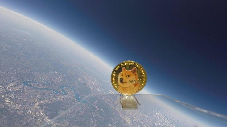 Dogecoin cryptucurrency flies in space moon