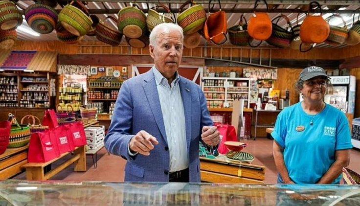 Biden interacting with reporters