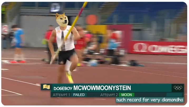Dogecoin Tokyo Olympics 2020 Pole Vault Meme