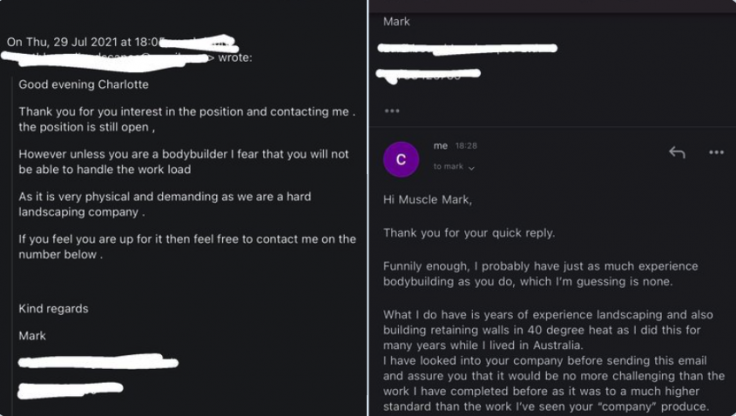 Charlotte's email to Muscle Mark