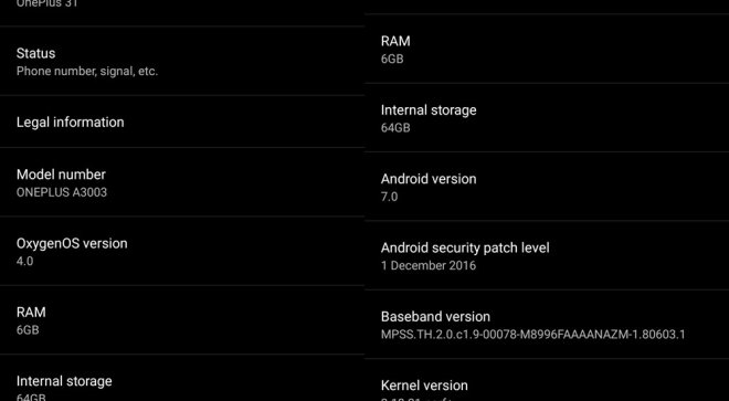 OnePlus 3T Nougat security patch for December update