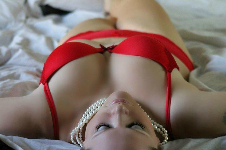 Red Lingerie Bra Panty OnlyFans Hot
