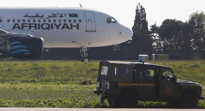 Libyan plane hijacked, lands in Malta