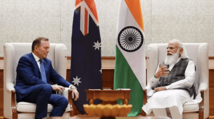 PM Modi with Australia's special trade envoy Tony Abbott during a meeting in New DelhiPTI